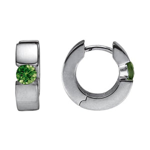 Sterling Silver Hoops with Peridot