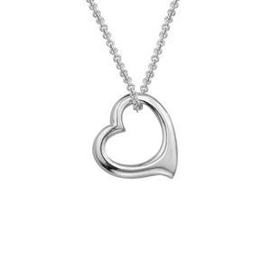 Sterling Silver Open Heart Pendant Necklace