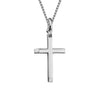 Sterling Silver Beveled Edge Cross Pendant Necklace