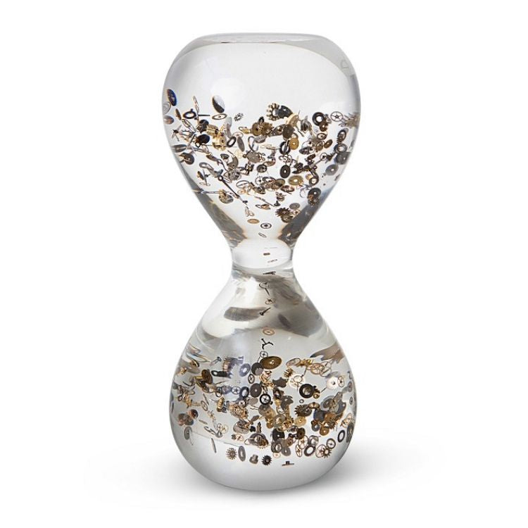 Small Passage Through Time is an hour glass filled with vintage watch parts