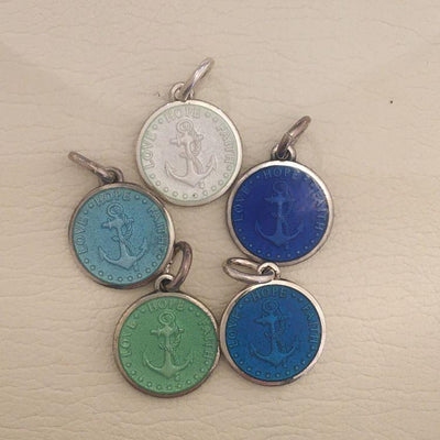 Enameled Anchor Pendants