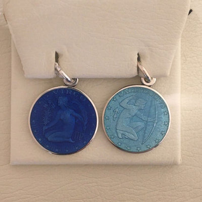 Sagittarius & Virgo Enameled Pendants
