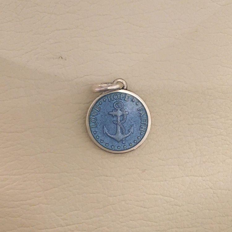 Dime French Blue Anchor Enameled Pendant