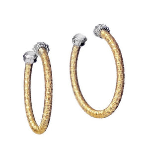 Boccole Gold Hoop Earrings with Diamond Station