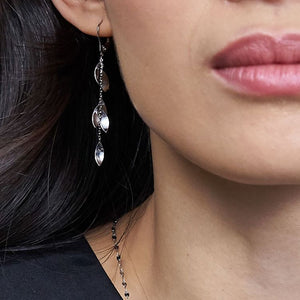 Petal Play Dangle Platinum Earrings