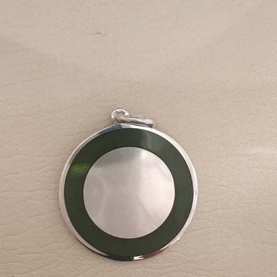 Moss Green Enameled Engravable Disc Pendant