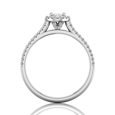 Flyer Fit Oval Cut Engagement Ring - View Center On
