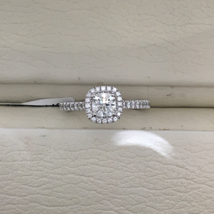 A Link Diamond Halo Engagement Ring - Top View