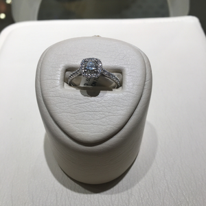 A Link Diamond Halo Engagement Ring - Profile View
