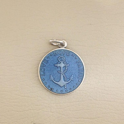 French Blue Enameled Anchor Pendant