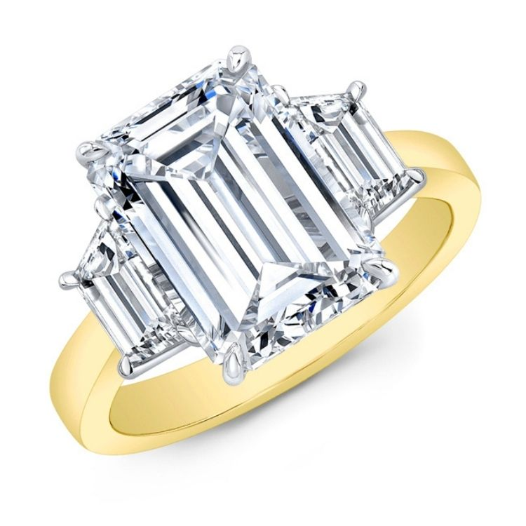 18k yellow gold ring, emerald cut diamond with two trapezoid diamond side stones set in platinum by Rahaminov