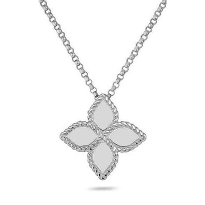 large princess flower pendant in 18ct white gold