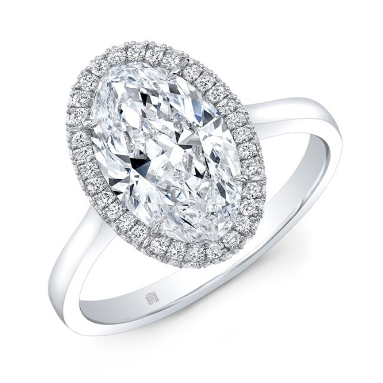 Modified Oval (Moval) Rahaminov Diamond Halo Engagement Ring
