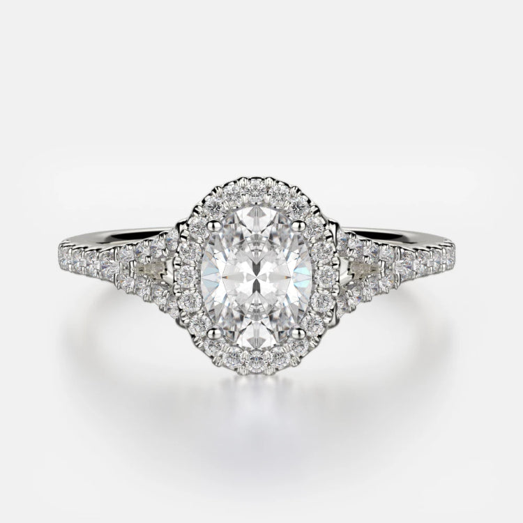 Adrianna Engagement Ring Mounting - Diamond Halo, Split Shank, Oval Center Stone, White Gold