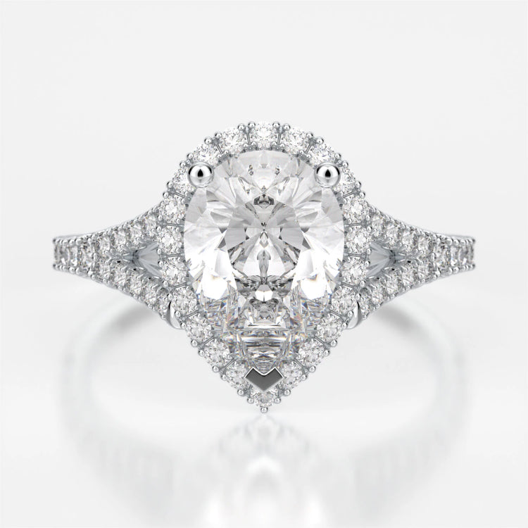 Adrianna Engagement Ring Mounting - Diamond Halo, Split Shank, Pear Cut Center Stone, White Gold
