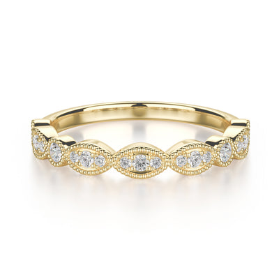 Juniper Wedding Band - Diamonds - Anniversary Band - Yellow Gold