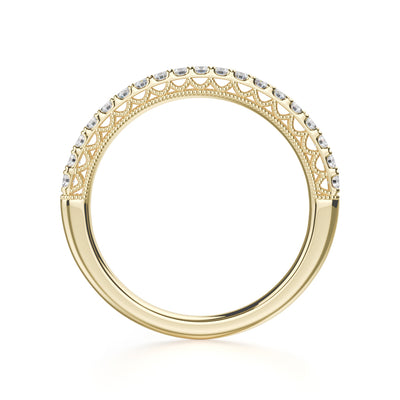 Alcyone Wedding Band - Yellow Gold - Diamonds - Anniversary Band