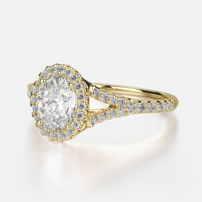 Adrianna Engagement Ring Mounting - Diamond Halo, Split Shank, Oval Center Stone, Yellow Gold