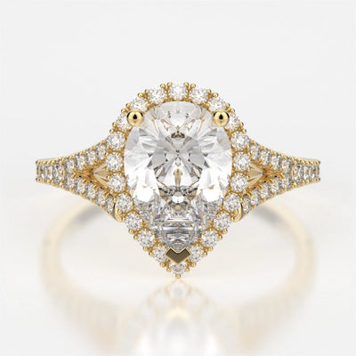 Adrianna Engagement Ring Mounting - Diamond Halo, Split Shank, Pear Cut Center Stone, Yellow Gold