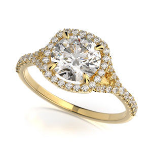 Adrianna Engagement Ring Mounting - Diamond Halo, Split Shank, Round Center Stone, Yellow Gold