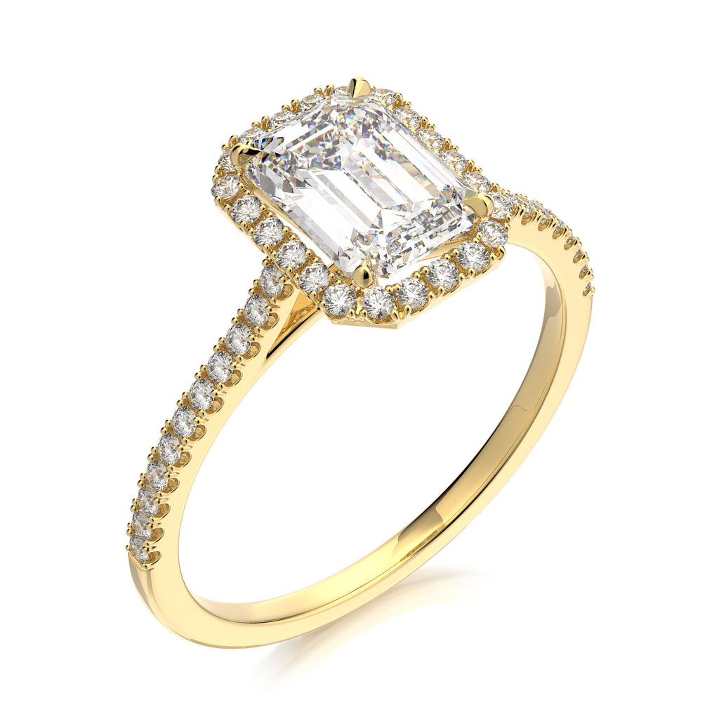 Calliope Engagement Ring - Emerald Cut - Solitaire - Diamond Halo - Yellow Gold