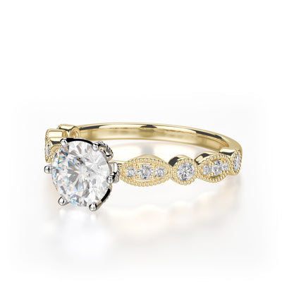 Juniper Engagement Ring Mounting - Yellow Gold - Diamond Solitaire