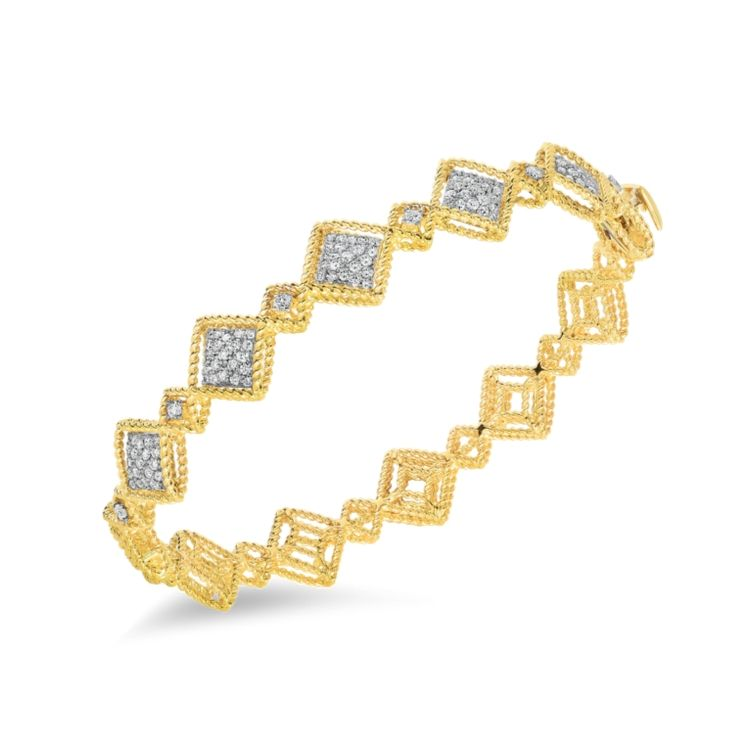 Roberto Coin Roman Barocco Alternating Diamond Bangle Bracelet in 18k Yellow Gold