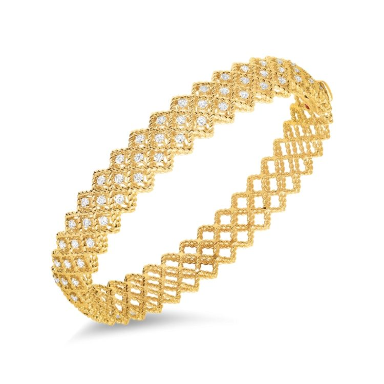 Roberto Coin 18k yellow gold Roman Barocco 3 Row diamond Bangle