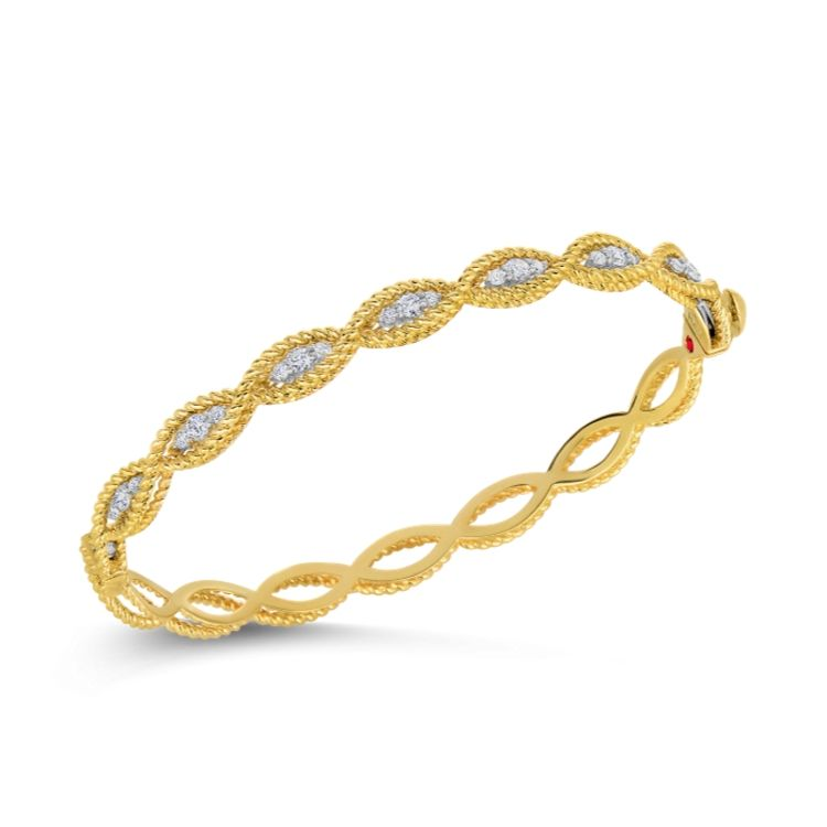 Roberto Coin Braided Bangle Bracelet with Diamonds in 18k Yellow Gold. Roman Barocco Collection