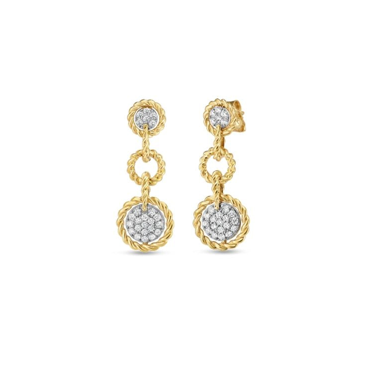 Roberto Coin New Barocco Round Drop Earrings in 18k Yellow Gold, with Diamonds