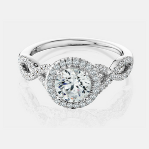 Celma Engagement Ring Mounting - Solitaire - Diamond Halo - White Gold