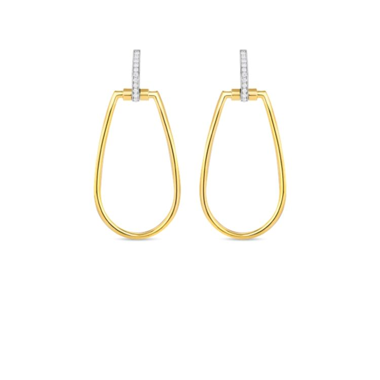 Roberto Coin Classique Parisienne Oval Hoops in 18k yellow gold with diamonds set in 18k white gold