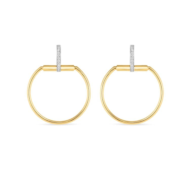 Roberto Coin Classique Parisienne Hoop Earrings in 18k Yellow Gold with Diamond Accent set in 18k white gold. Medium Size