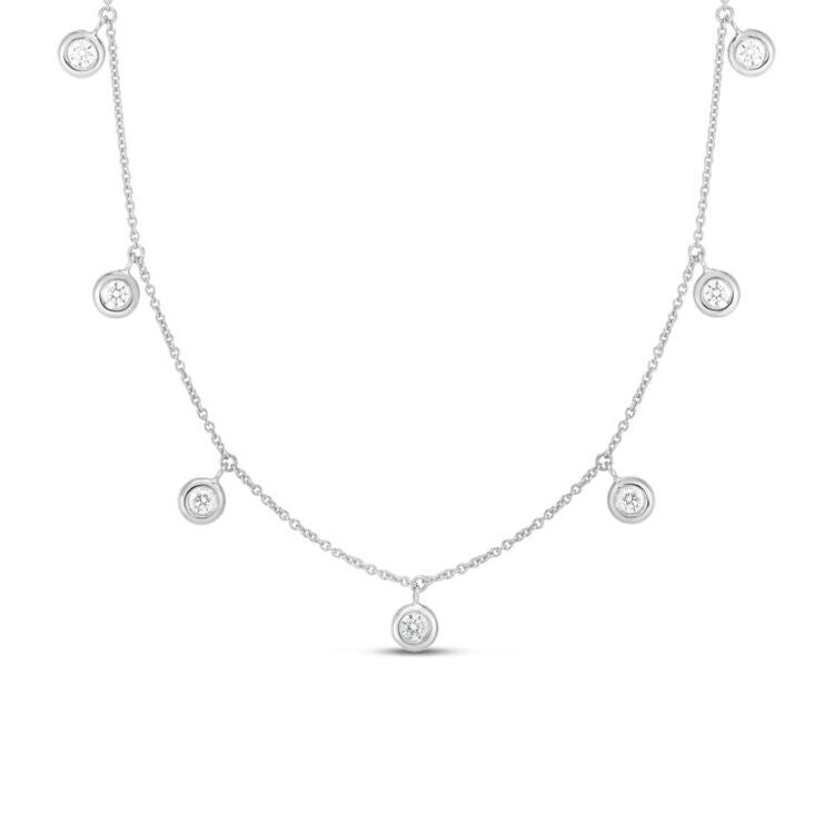 Roberto Coin Diamonds by the Inch 7 Diamond Station necklace in 18k white gold