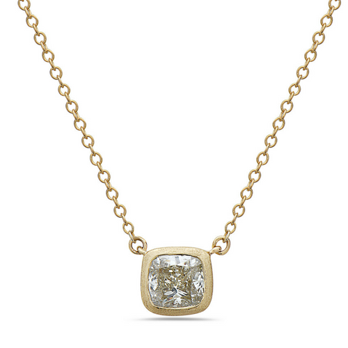 Dilamani Yellow Cushion-Cut Diamond Pendant