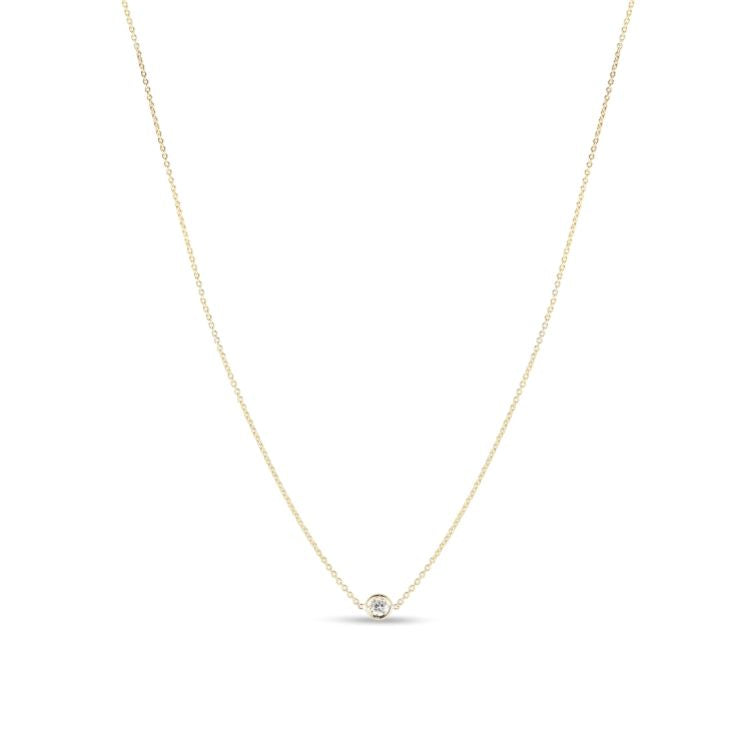 Single Station Diamond Necklace by ROberto Coin's Diamonds by the Inch, bezel set, 18k yellow gold