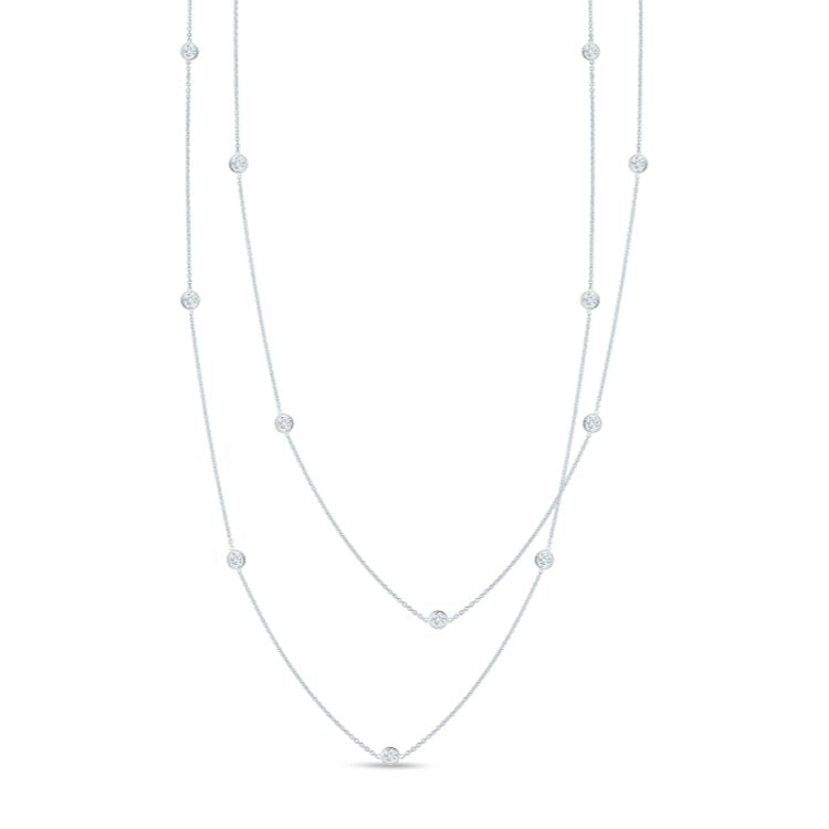 Roberto Coin Diamonds by the Inch 15 diamond station necklace in 18k white gold