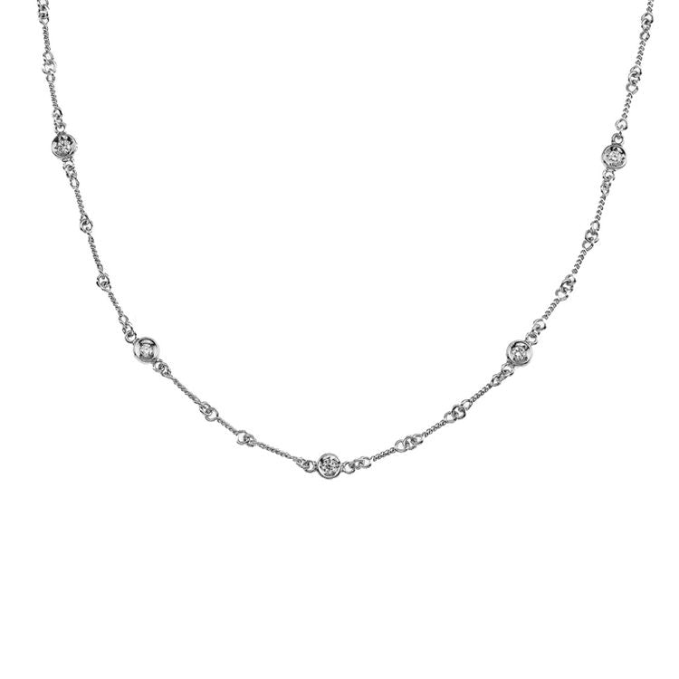 "Roberto Coin Diamonds by the Inch 7 Diamond Station Necklace ""Dog Bone"" in 18k White Gold"