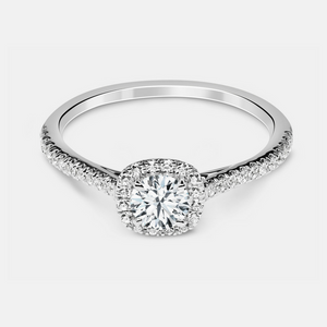 Eliana Engagement Ring Mounting - Diamond Halo & Solitare - White Gold