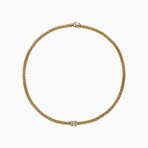 FOPE Solo Necklace 18k yellow gold with diamond roundel