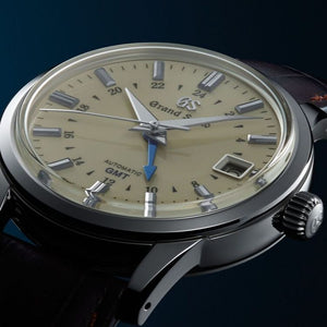 Grand Seiko Elegance SBGM221 Cream Dial, GMT, Brown Croc Strap, Steel Case