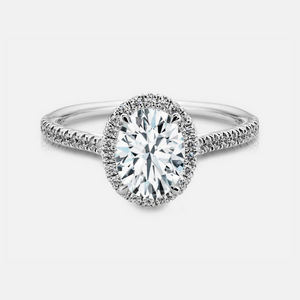 Leslie Engagement Ring Mounting - White Gold - Diamond Halo - Oval Cut Center Stone
