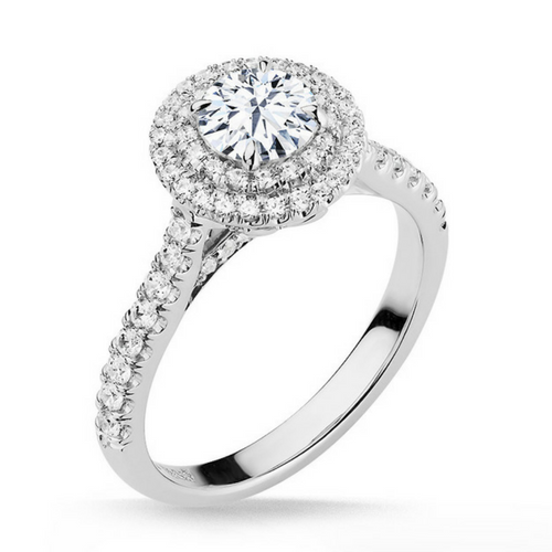 Maxine Diamond Solitare Halo Engagement Ring - Naledi