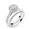 Maxine Diamond Solitare Halo Engagement Ring & Wedding Band - Naledi