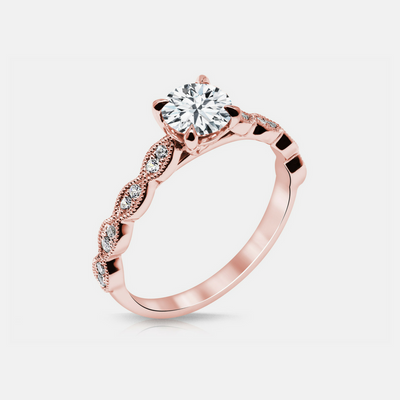 Noa Engagement Ring Mounting - Rose Gold - Diamond Solitare
