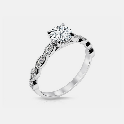Noa Engagement Ring Mounting - White Gold - Diamond Solitare