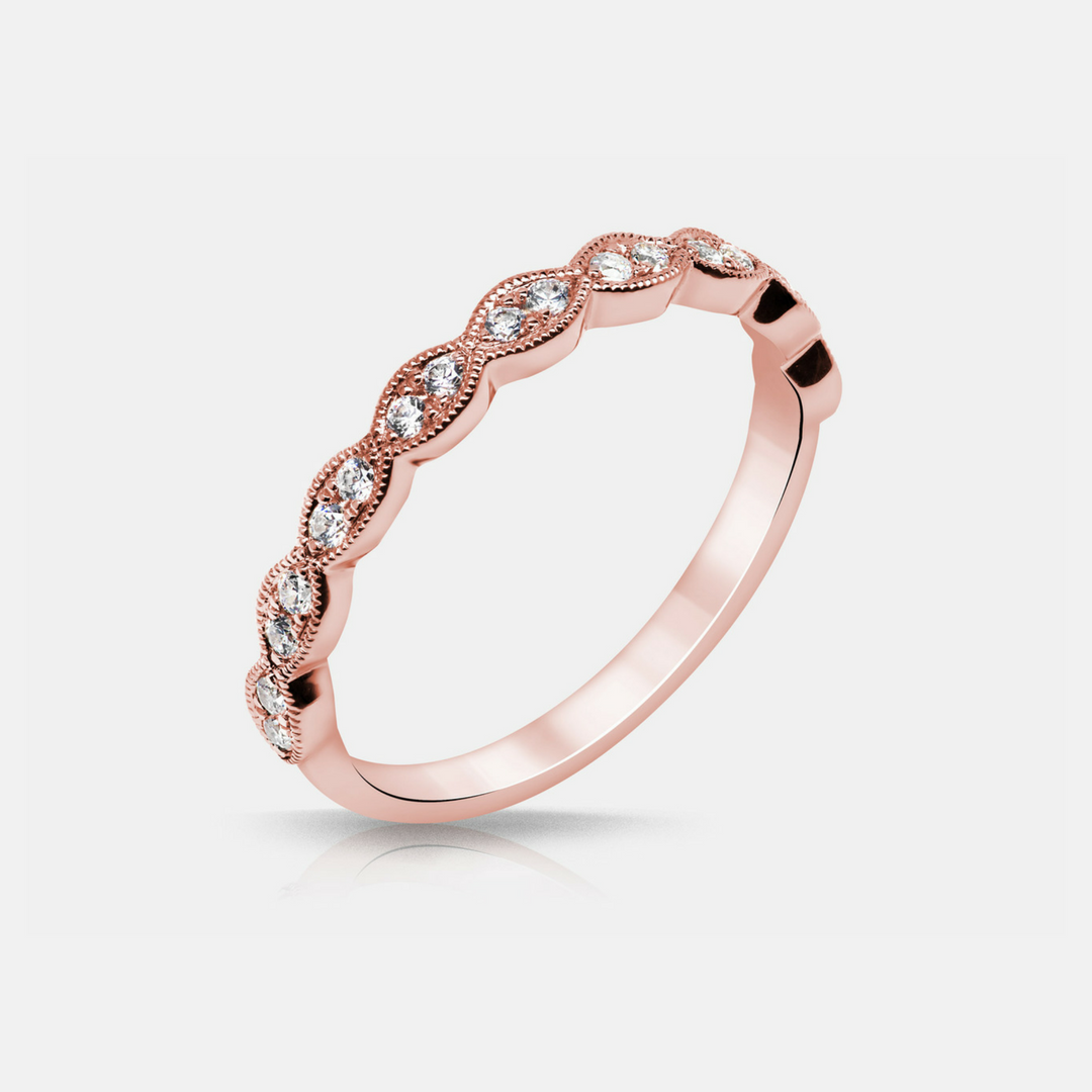 Noa Wedding Band - Diamonds - Rose Gold