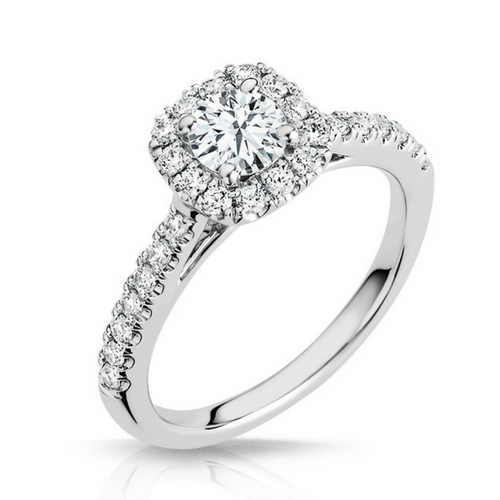 Pippa Diamond Solitare Halo Engagement Ring - Naledi