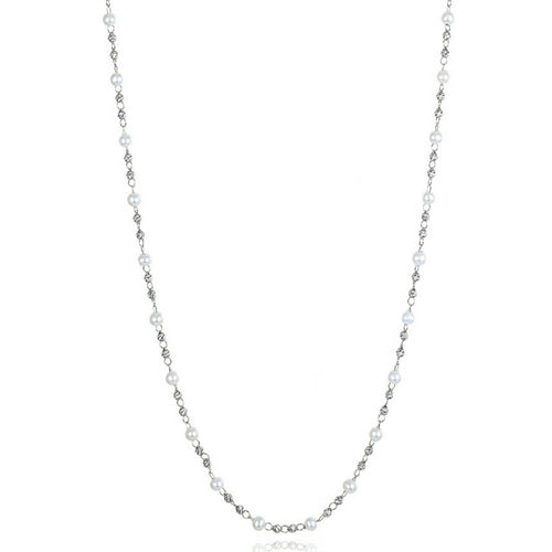 Platinum Born Pearl & Bead Necklace