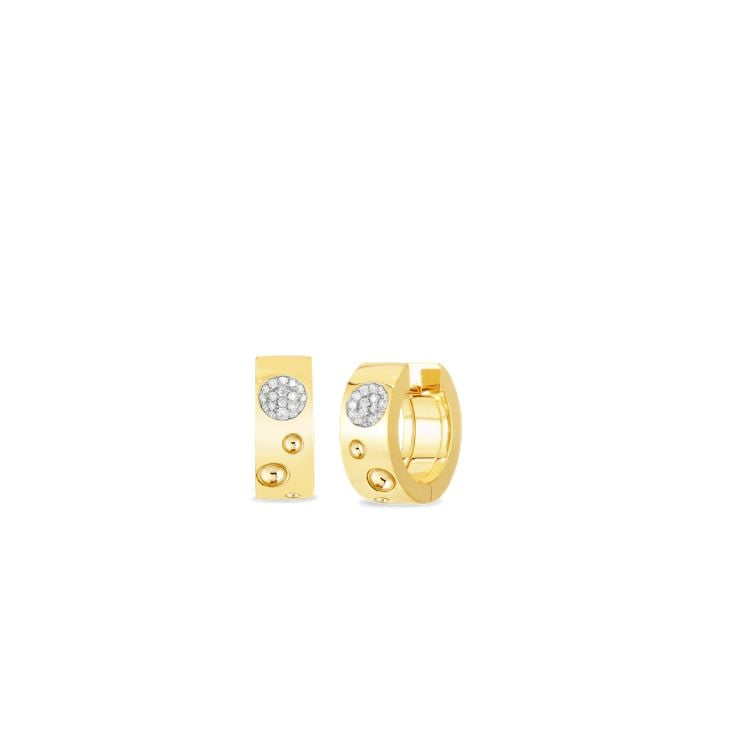 18k yellow gold with diamonds - Roberto Coin Pois Moi Luna Huggie Hoop Earrings
